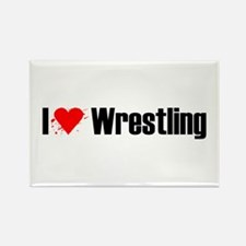 I love wrestling Rectangle Magnet