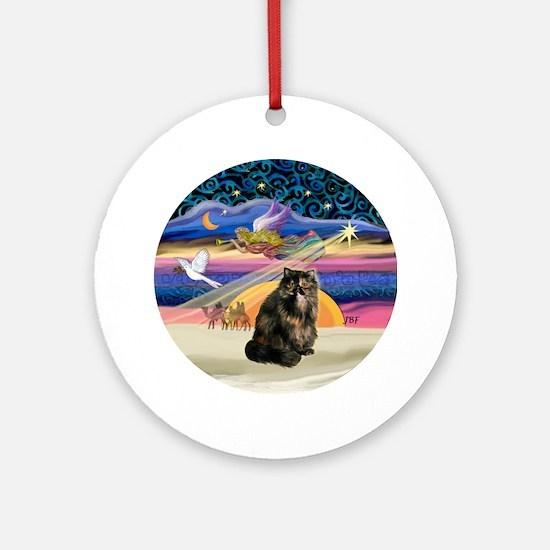 Xmas Star & Tortie Persian cat Ornament (Round)