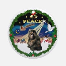 Peace Wreath & Tortie Persian cat Ornament (Round)