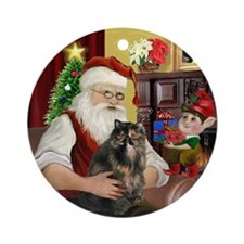 Santa's Tortie Persian cat Ornament (Round)