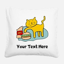 Cat And Hamburger (Custom) Square Canvas Pillow