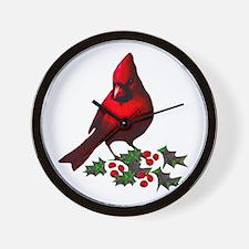 Christmas Cardinal Wall Clock