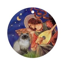 Angel (#3) & Himalayan cat Ornament (Round)