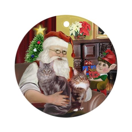Santa with his 2 Maine Coon Cats Ornament (Round)