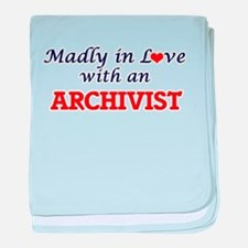 Madly in love with an Archivist baby blanket