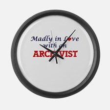 Madly in love with an Archivist Large Wall Clock