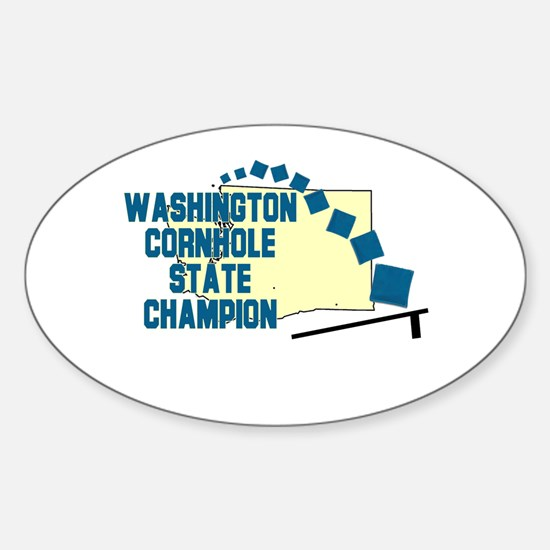 Washington Cornhole State Cha Oval Decal