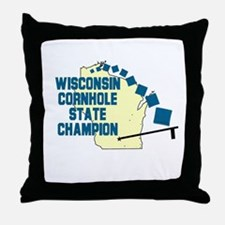 Wisconsin Cornhole State Cham Throw Pillow