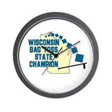 Wisconsin Bag Toss State Cham Wall Clock