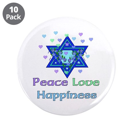 """Peace Love Happiness 3.5"""" Button (10 pack)"""