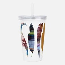 Colorful feathers Acrylic Double-wall Tumbler