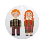 Raggedy Ann and Andy Ornament (Round)
