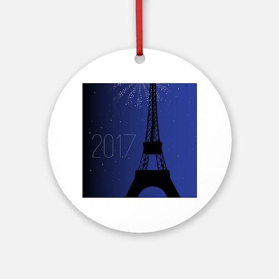 Paris Night 2017 Round Ornament