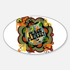 Peace Please! Anti War Graphic Oval Decal