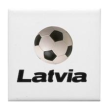 Latvia Soccer Tile Coaster