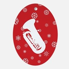 Tuba Snowflakes Ornament (Red Oval)