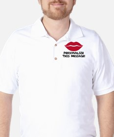 PERSONALIZED Red Lips Golf Shirt