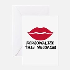 PERSONALIZED Red Lips Greeting Cards