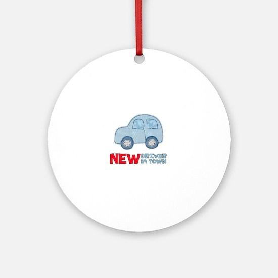 Cute New car Round Ornament