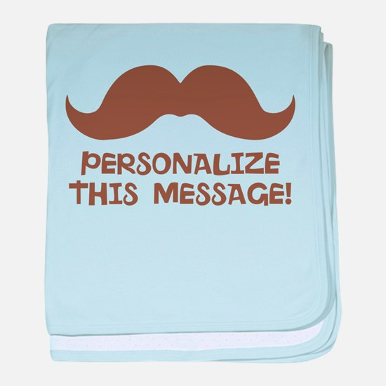 PERSONALIZED Brown Mustache baby blanket