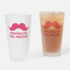 PERSONALIZED Pink Mustache Drinking Glass