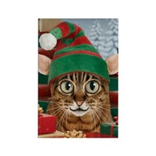 Santa's Elf-Cat Christmas Magnet