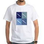 Writing (blue boxes) White T-Shirt