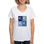 Windsurfing (blue boxes) Women's V-Neck T-Shirt