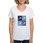 Skiing  (blue boxes) Women's V-Neck T-Shirt