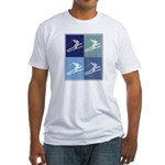 Skiing  (blue boxes) Fitted T-Shirt