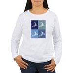 Skiing  (blue boxes) Women's Long Sleeve T-Shirt