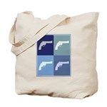 Shoot Guns (blue boxes) Tote Bag