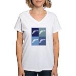 Shoot Guns (blue boxes) Women's V-Neck T-Shirt