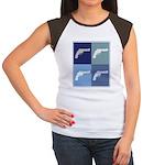 Shoot Guns (blue boxes) Women's Cap Sleeve T-Shirt