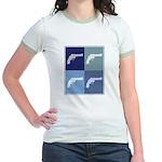 Shoot Guns (blue boxes) Jr. Ringer T-Shirt