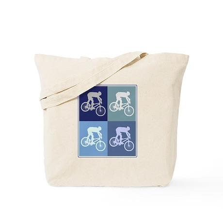 Mountain Biking (blue boxes) Tote Bag