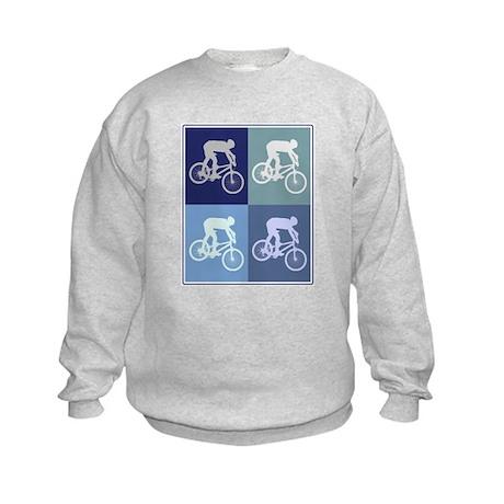 Mountain Biking (blue boxes) Kids Sweatshirt