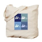 Motocycle Riding (blue boxes) Tote Bag