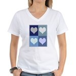 Love (blue boxes) Women's V-Neck T-Shirt