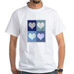 Love (blue boxes) White T-Shirt