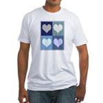 Love (blue boxes) Fitted T-Shirt