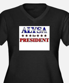 ALYSA for president Women's Plus Size V-Neck Dark