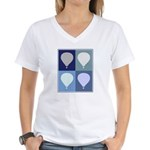 Hot Air Balloon (blue boxes) Women's V-Neck T-Shir