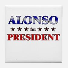 ALONSO for president Tile Coaster