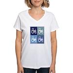 Farmer (blue boxes) Women's V-Neck T-Shirt