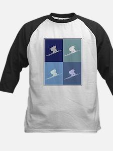 Downhill Skiing (blue boxes) Kids Baseball Jersey