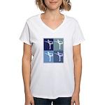 Ballerina (blue boxes) Women's V-Neck T-Shirt