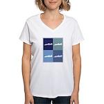 Auto Racing (blue boxes) Women's V-Neck T-Shirt