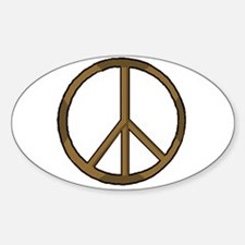 Wooden Peace Symbol Oval Decal