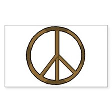 Wood Peace Symbol Rectangle Decal